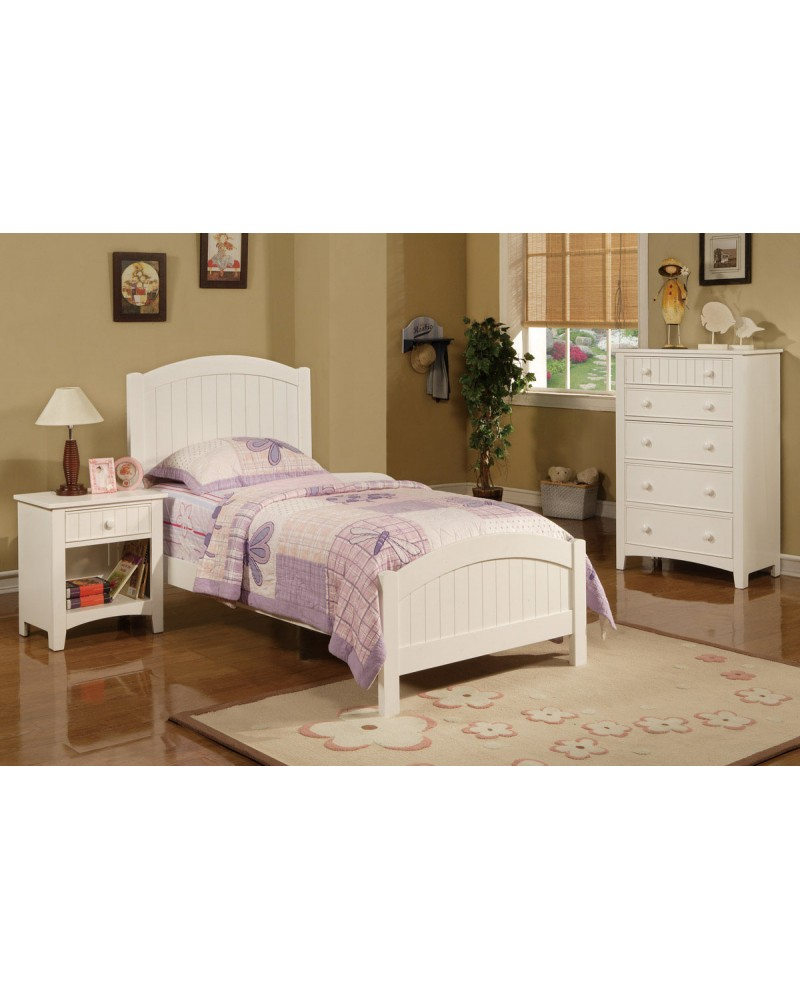 F9049 White Bedframe with Headboard