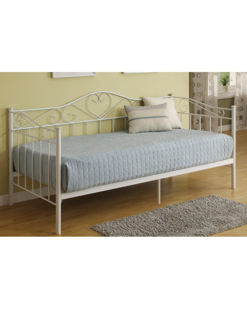 Day Bed, Metal Frame with Slats.  Heart Shaped Accents.