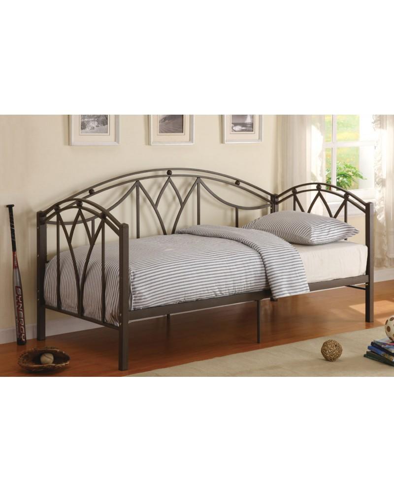 Day Bed, Matte Black Square Metal Frame