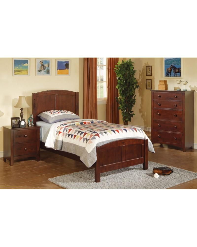 Twin Bed Set, Dark Oak. Twin Bed