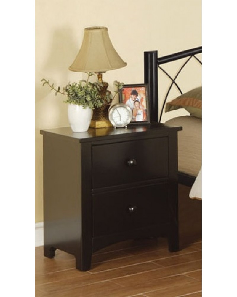 F4236 Black Two Drawer Nightstand