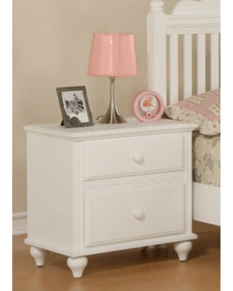 Country Style Youth Bed Set, White.  Available in Twin and Full. Night Stand