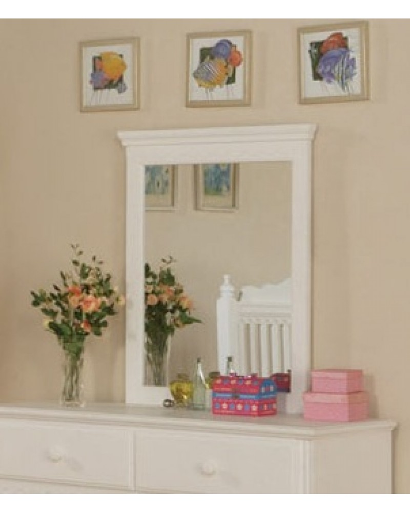 Wood Slat Youth Bedroom Set, White.  Available in Twin and Full. Mirror