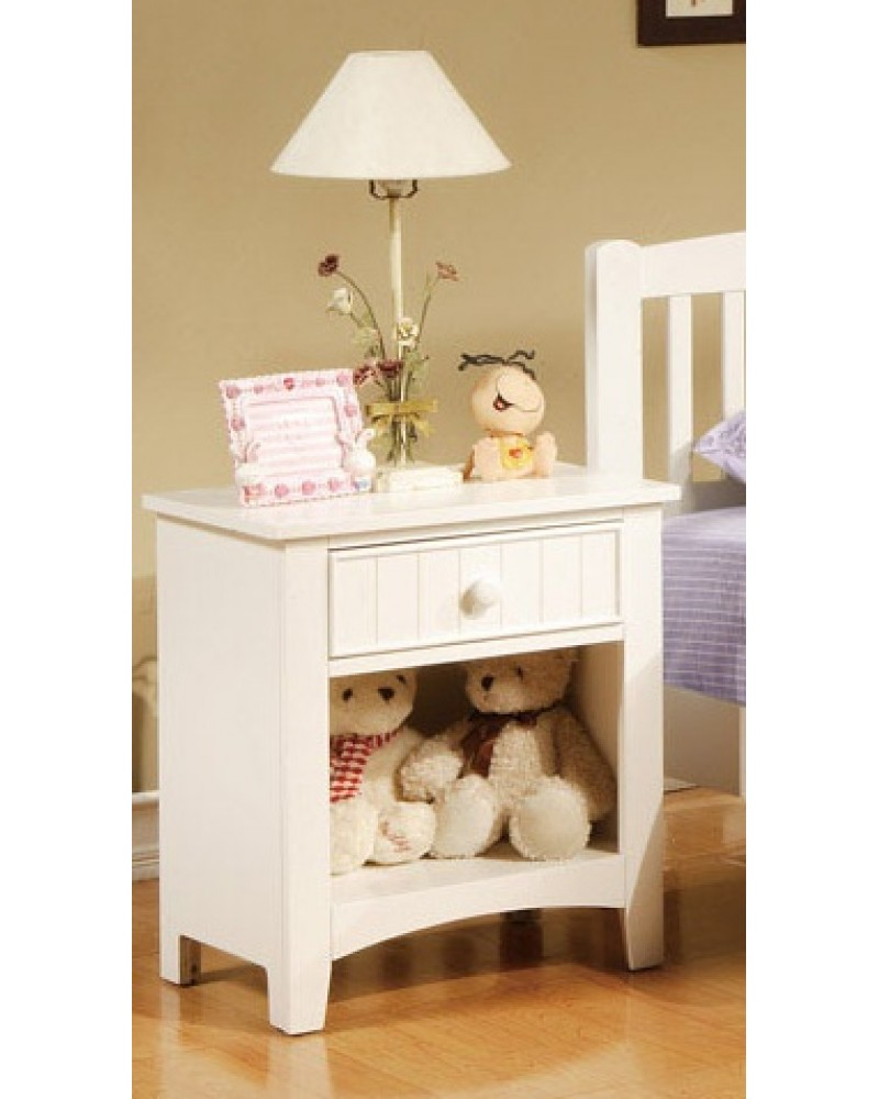 Youth Bed Set, Standard Twin.  Available in White. Night Stand