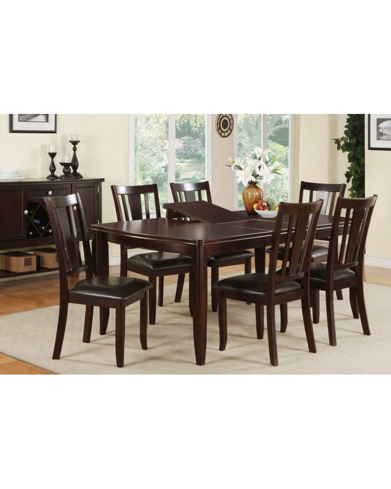 Dining Table Set with Hidden Leaf, Espresso Finish 7-Piece Dining Set, Dark Espresso