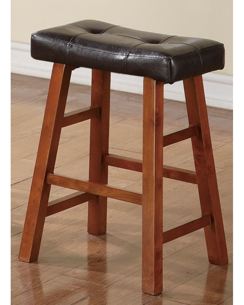Walnut Counter Stool with Black Padded Seat