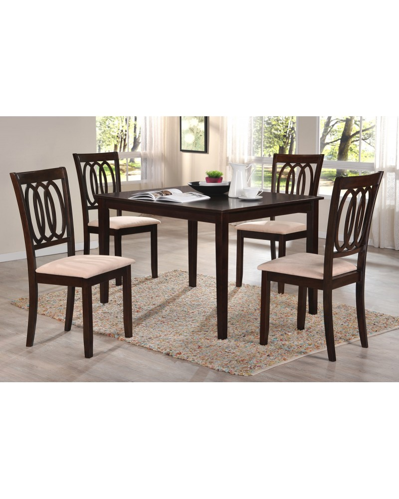 Dark Espresso Dining Table Set with Straight Legs