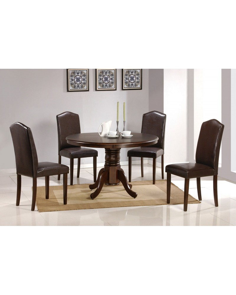 Dining Table with Round Top, Faux Leather Chairs Table with Faux Leather Chairs