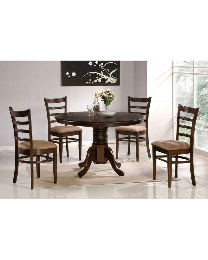 Dining Table with Round Top, Padded Wood Chairs