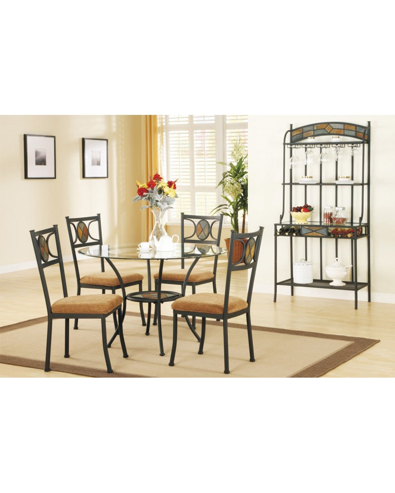 Earth Tone Dining Table Set with Round Glass Top