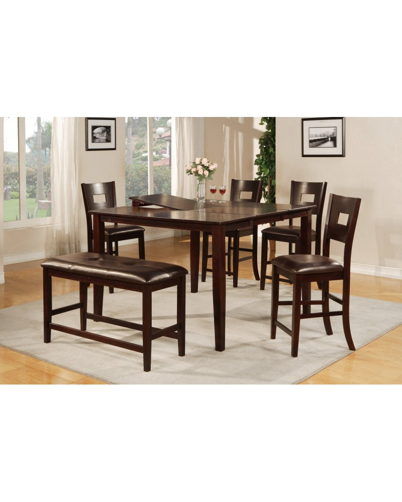 6 Piece Counter Height Dining Set with Leaf
