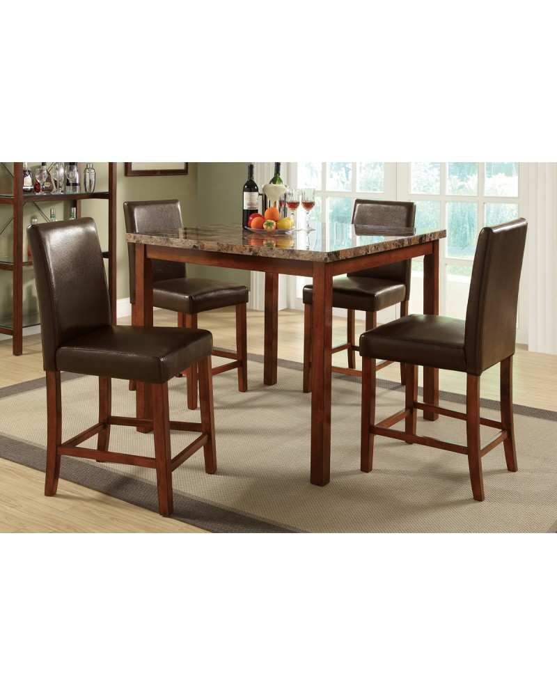 5 Piece Counter Height Dining Set, Marble Top
