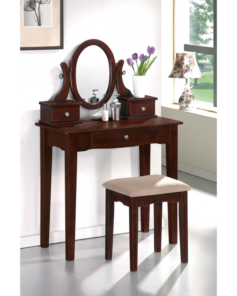 Vanity Set with Stool, Straight Legs, Multiple Finishes Available Dark Cherry