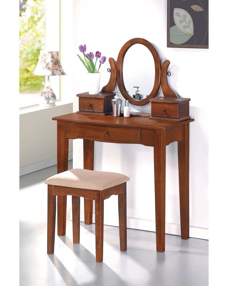 Vanity Set with Stool, Straight Legs, Multiple Finishes Available Walnut