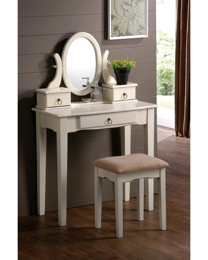 Vanity Set with Stool, Straight Legs, Multiple Finishes Available Antique White