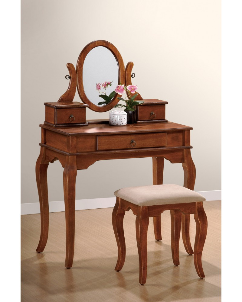 Vanity Set with Stool, Queen Anne Legs, Multiple Finishes Available Walnut