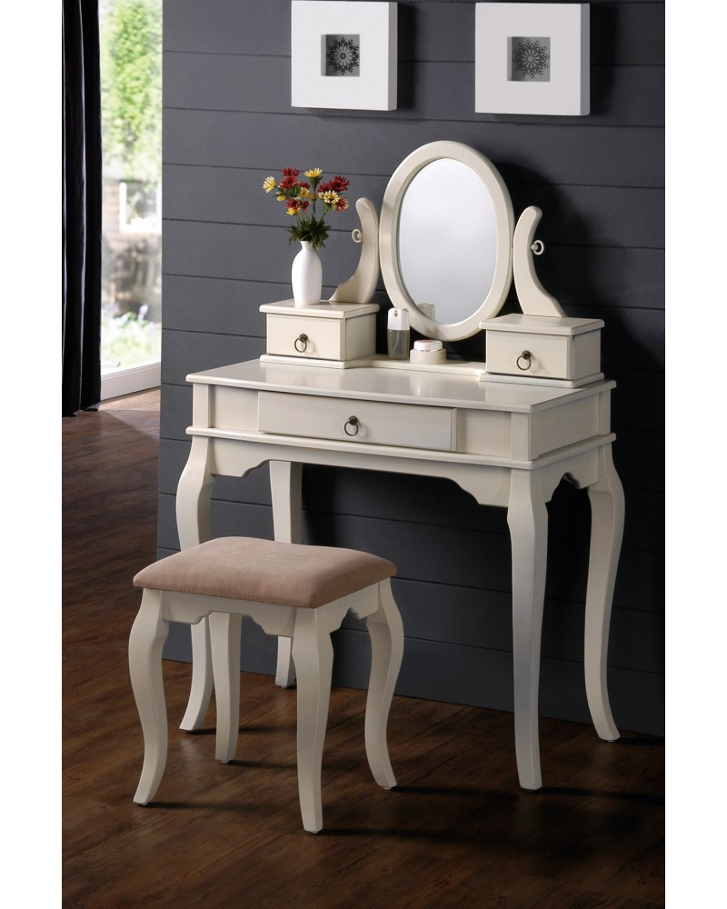 Vanity Set with Stool, Queen Anne Legs, Multiple Finishes Available Antique White