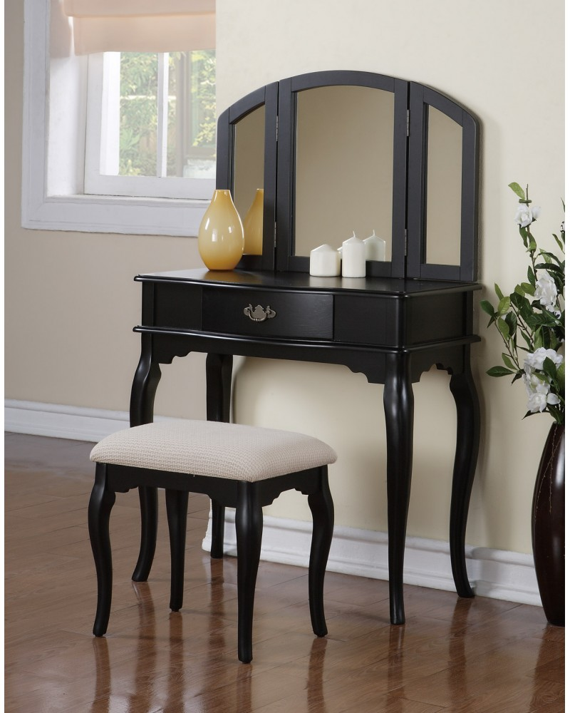 Vanity Set with Stool, Single Drawer, Tri-Fold Mirror.  Multiple Finishes Available. Black