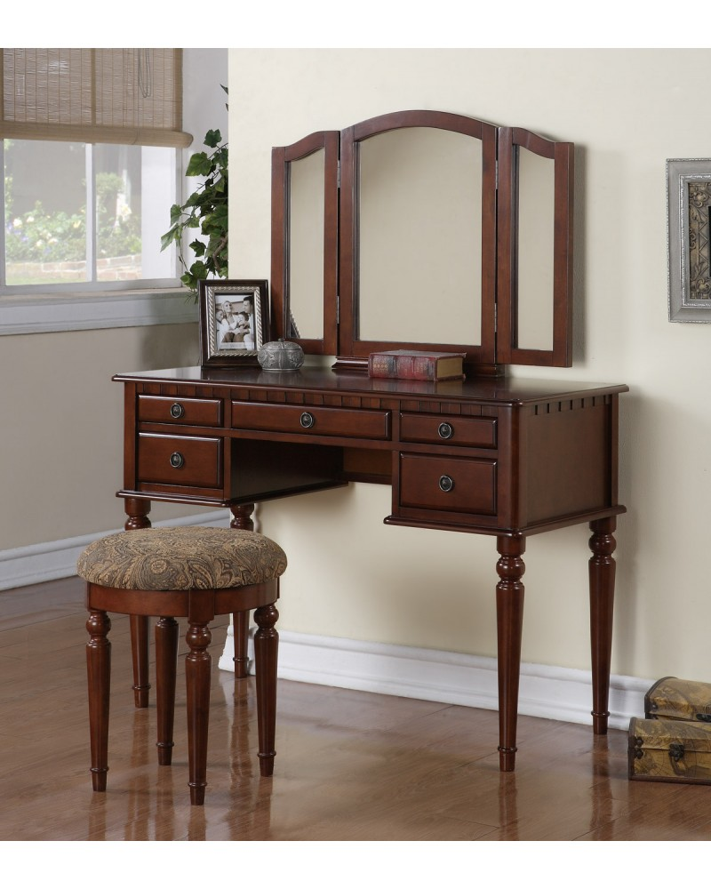 Vanity Set with Stool, Multiple Drawers, Tri-Fold Mirror.  Multiple Finishes Available. Dark Cherry
