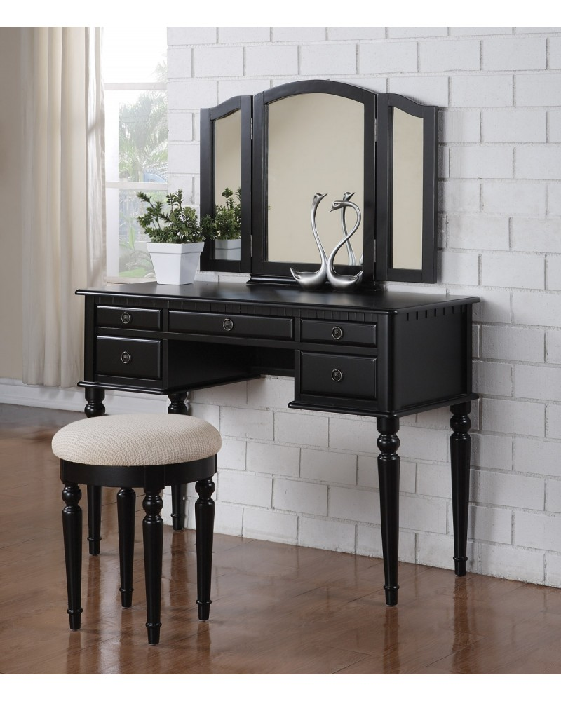 Vanity Set with Stool, Multiple Drawers, Tri-Fold Mirror.  Multiple Finishes Available. Black