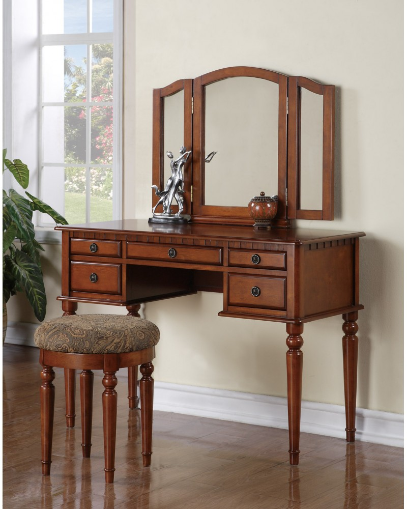 Vanity Set with Stool, Multiple Drawers, Tri-Fold Mirror.  Multiple Finishes Available. Walnut