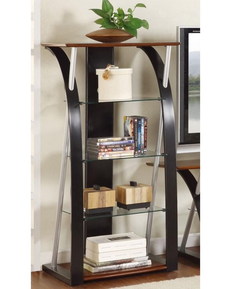 Contemporary TV Stand, 2-Tone Dark Walnut and Black with Optional Media Shelf Media Shelf
