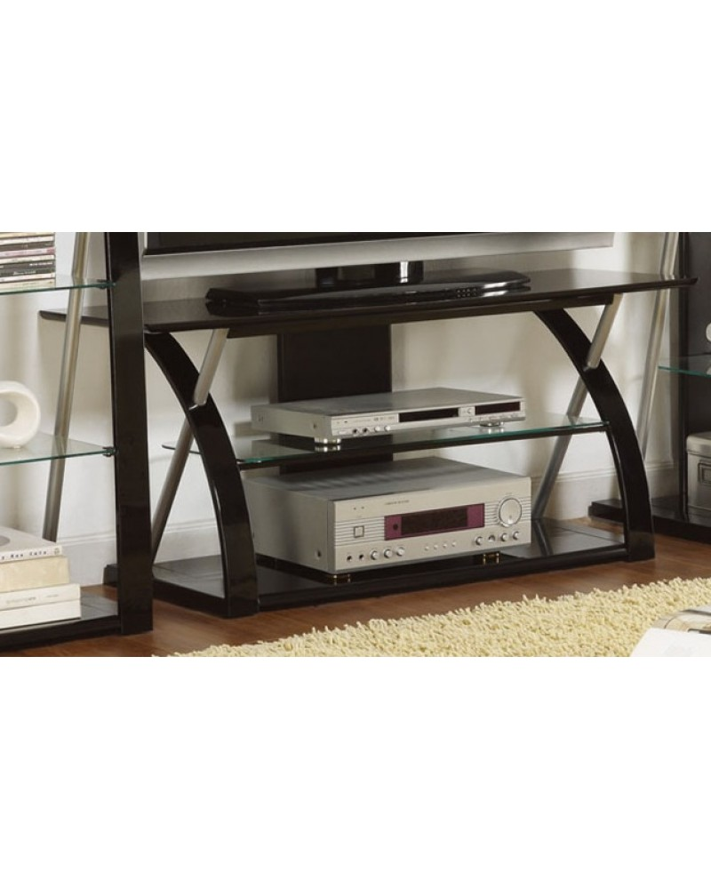 Contemporary TV Stand, Black with Optional Media Shelves TV Stand