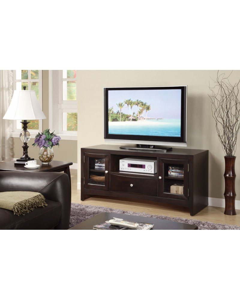 Contemporary TV Stand with Glass Panel Side Storage TV Stand