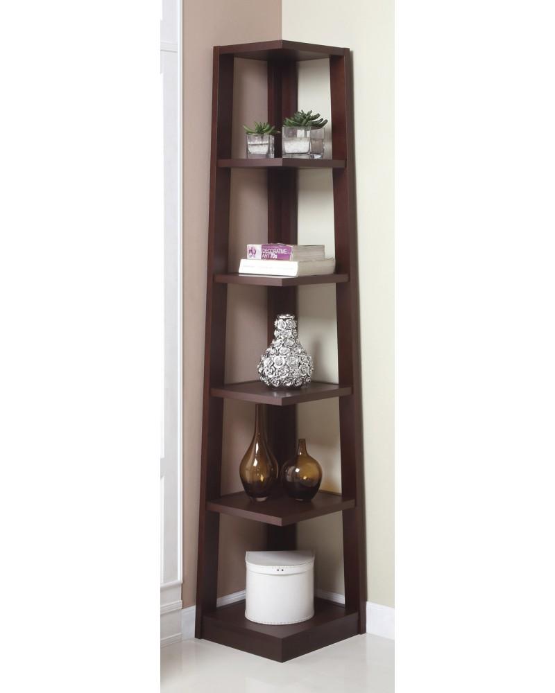 Corner Tower Shelf, Available in Walnut and Black. Walnut