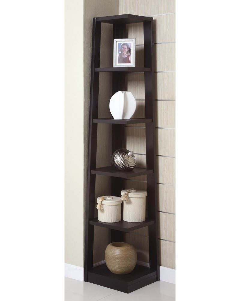 Corner Tower Shelf, Available in Walnut and Black. Black
