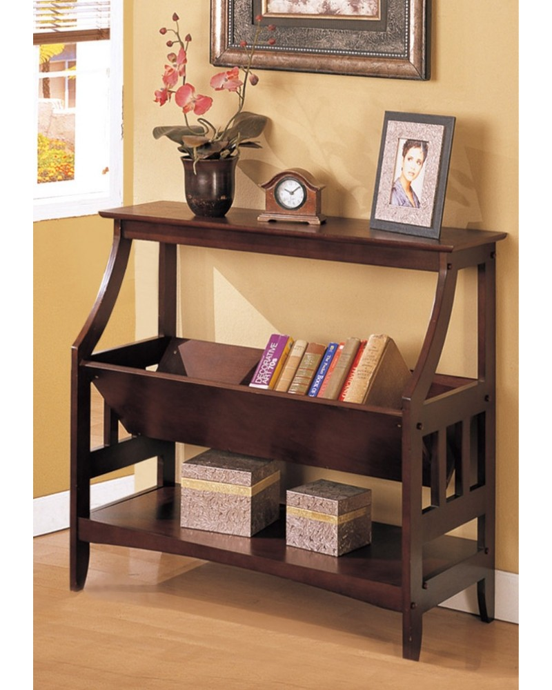 Magazine Table and Matching Wall Shelf, Walnut Magazine Table