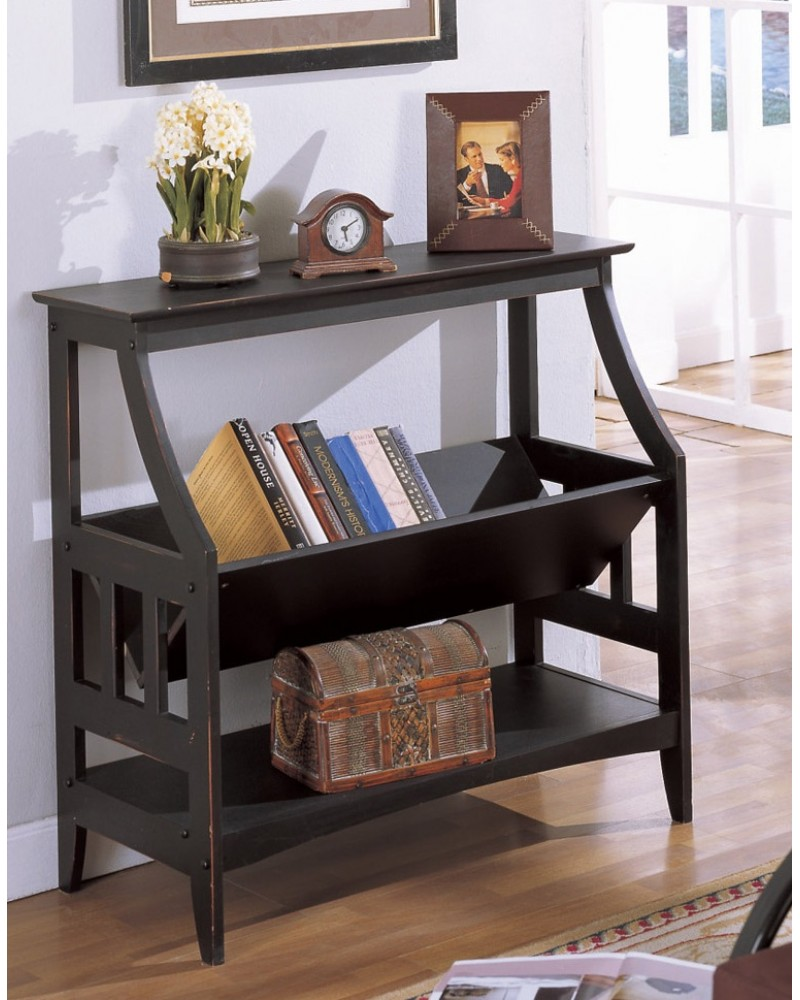 Magazine Table and Matching Wall Shelf, Black Magazine Table