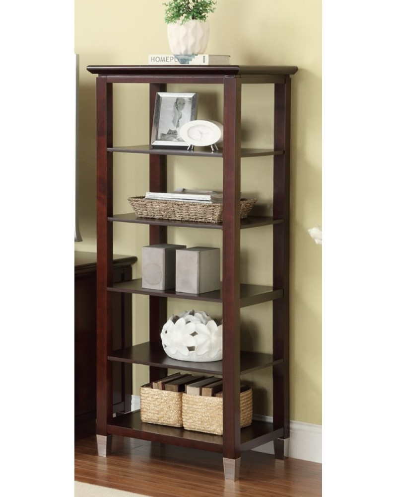 Contemporary TV Stand with Storage and Optional Media Shelves, Dark Cherry Finish