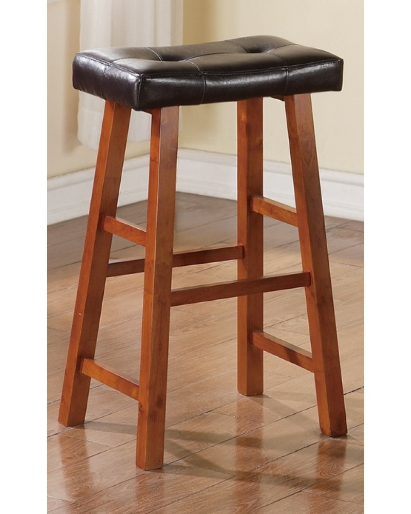 Walnut Counter Stool with Black Padded Seat 29