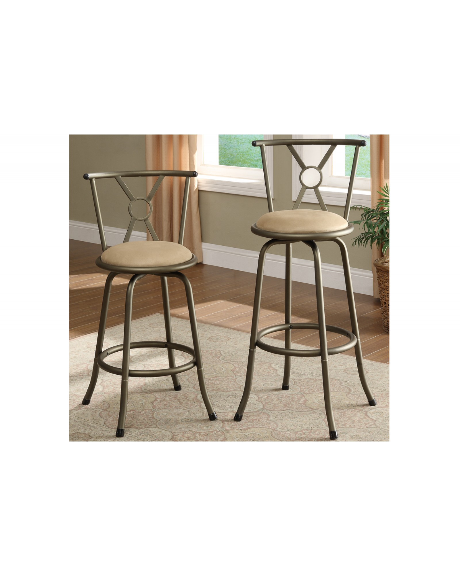 Adjustable Height Swivel Barstool - Cross Back
