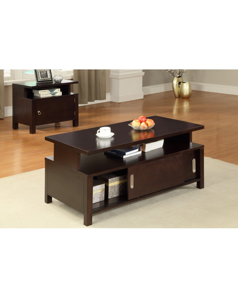 Coffee Table with Storage, Espresso Coffee Table
