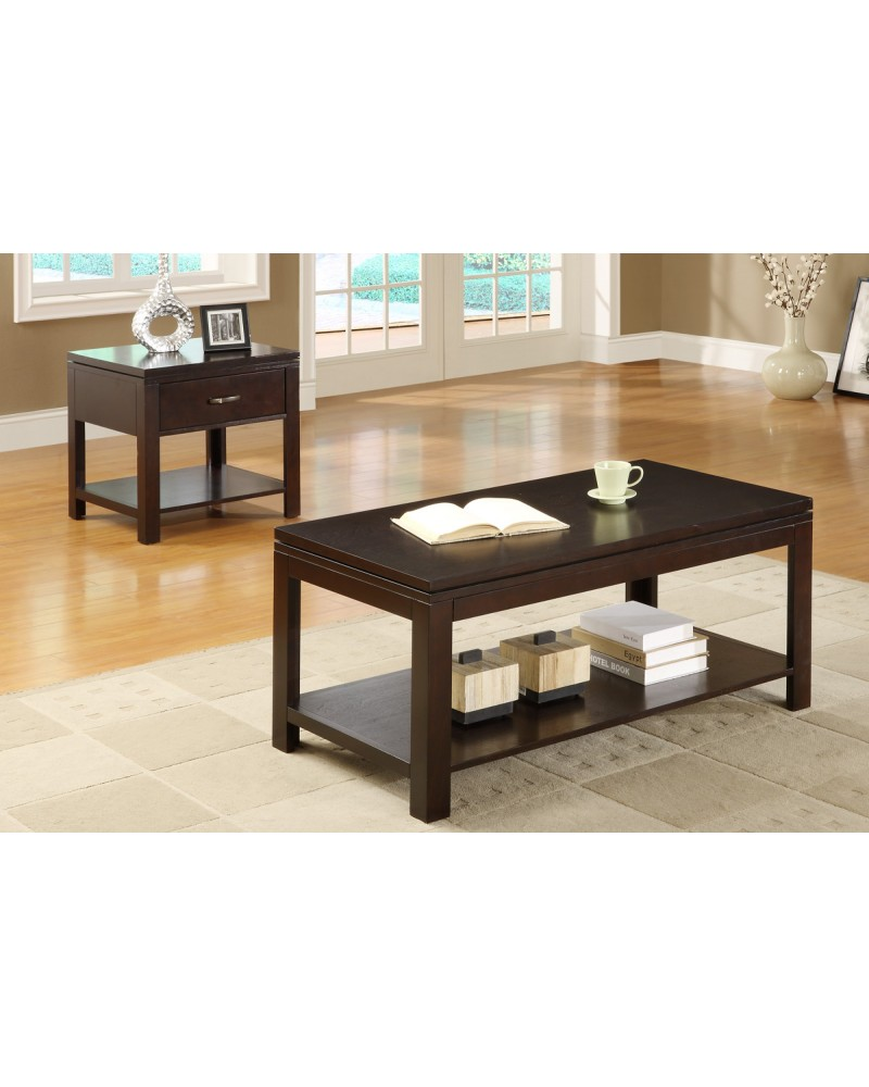 Wood Coffee Table and End Table, Espresso Finish Coffee Table