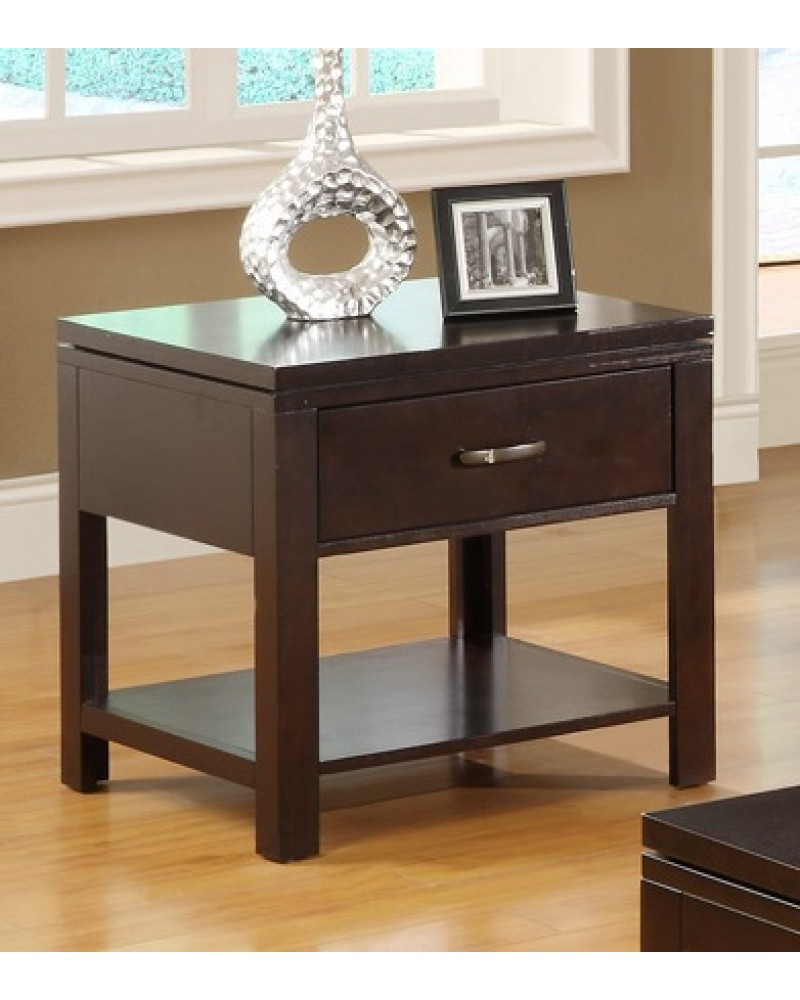 Wood Coffee Table and End Table, Espresso Finish End Table