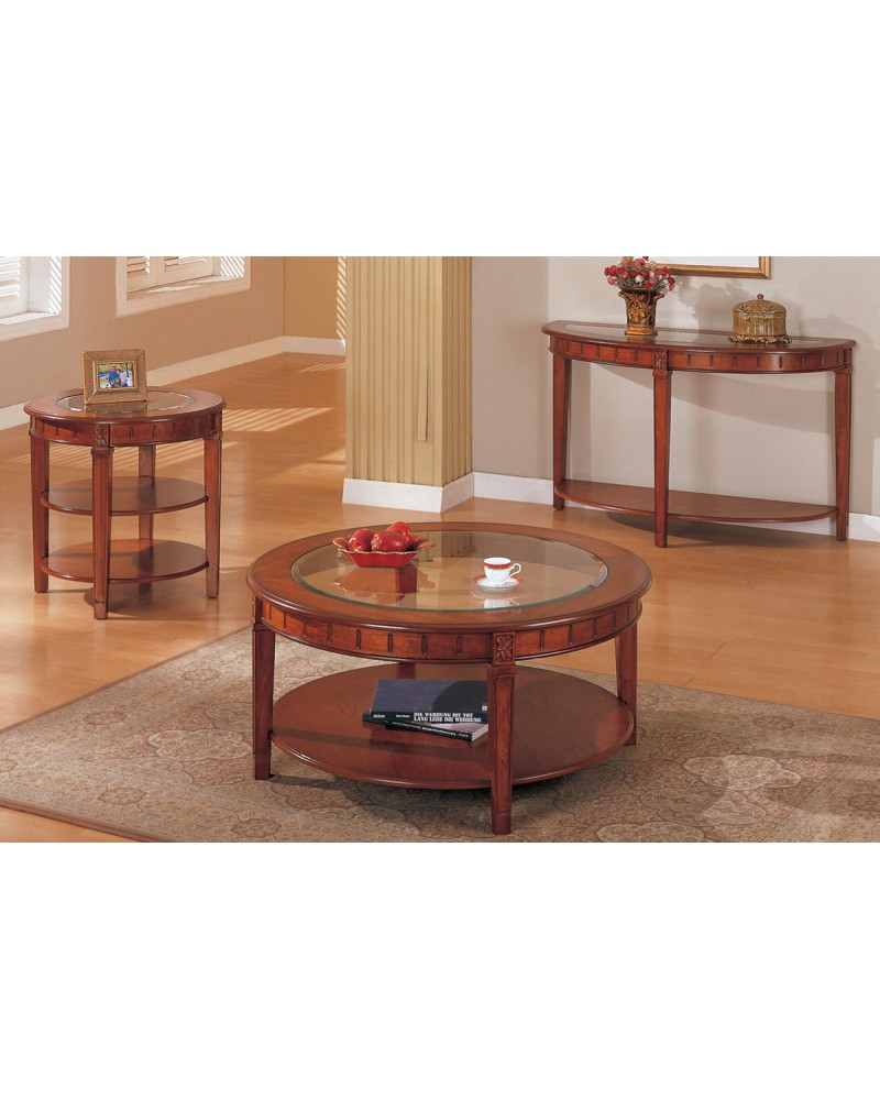 Coffee Table and Matching End Table and Console, Round, Oak Veneer with Glass Top Coffee Table