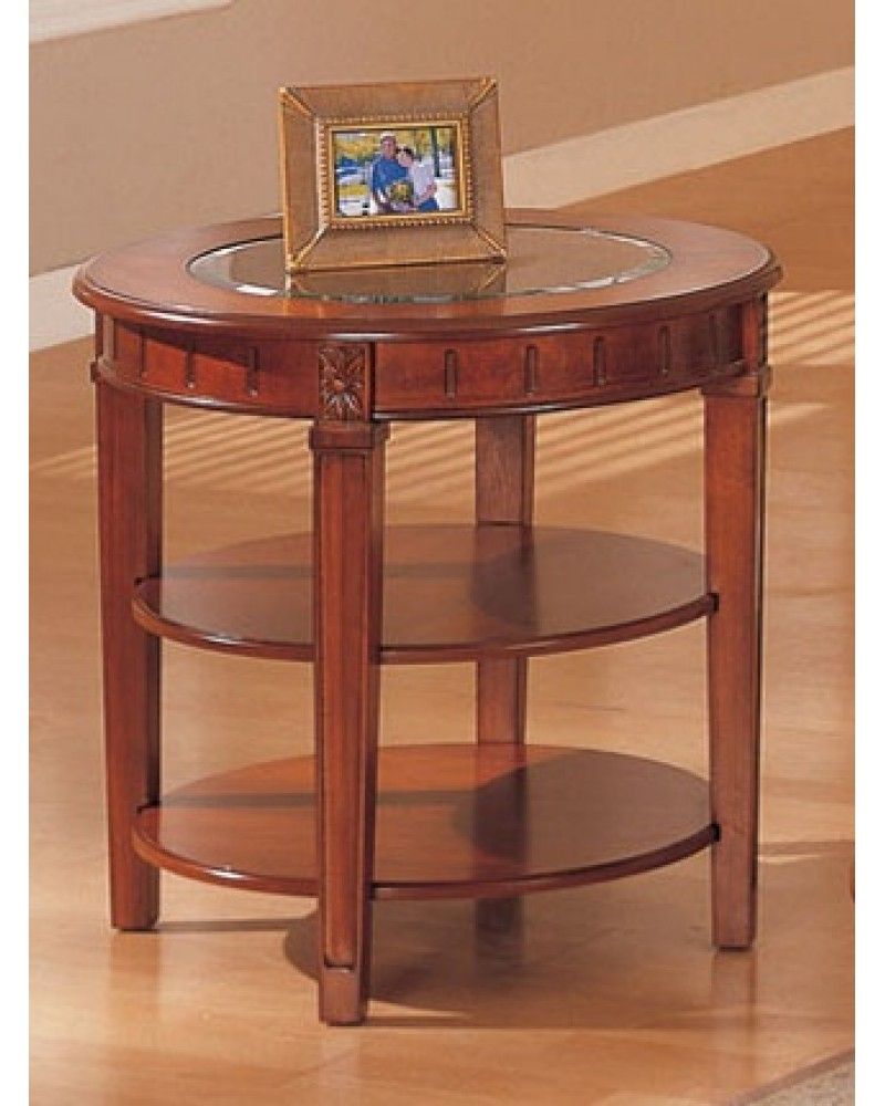 Coffee Table and Matching End Table and Console, Round, Oak Veneer with Glass Top End Table