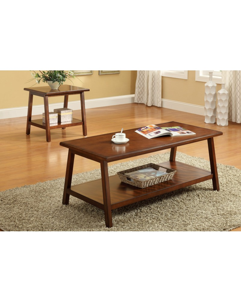 Wood Coffee Table and End Table, Cherry Finish Coffee Table