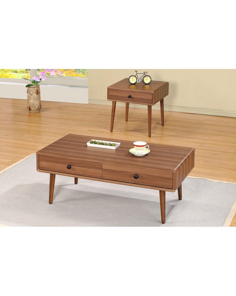 Vintage Wood Veneer Coffee Table and End Table Coffee Table