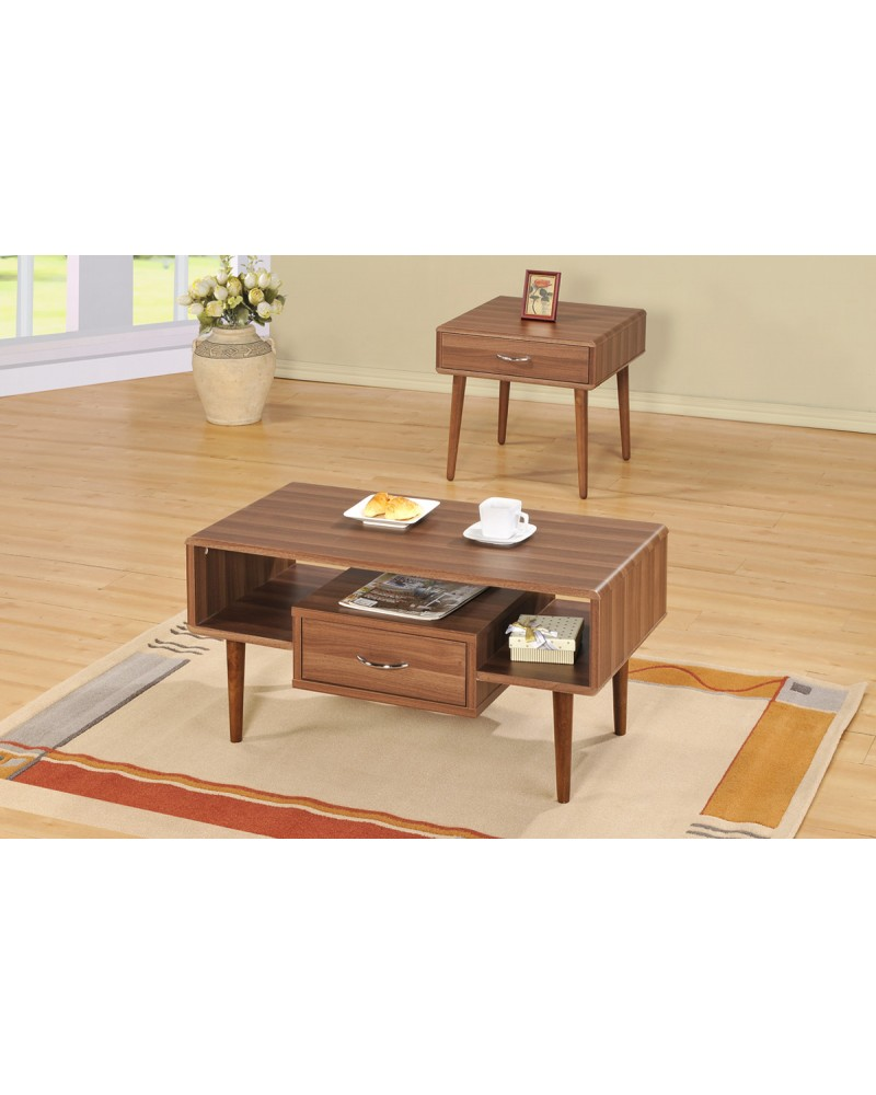 Vintage Coffee Table and End Table, Wood Veneer Coffee Table