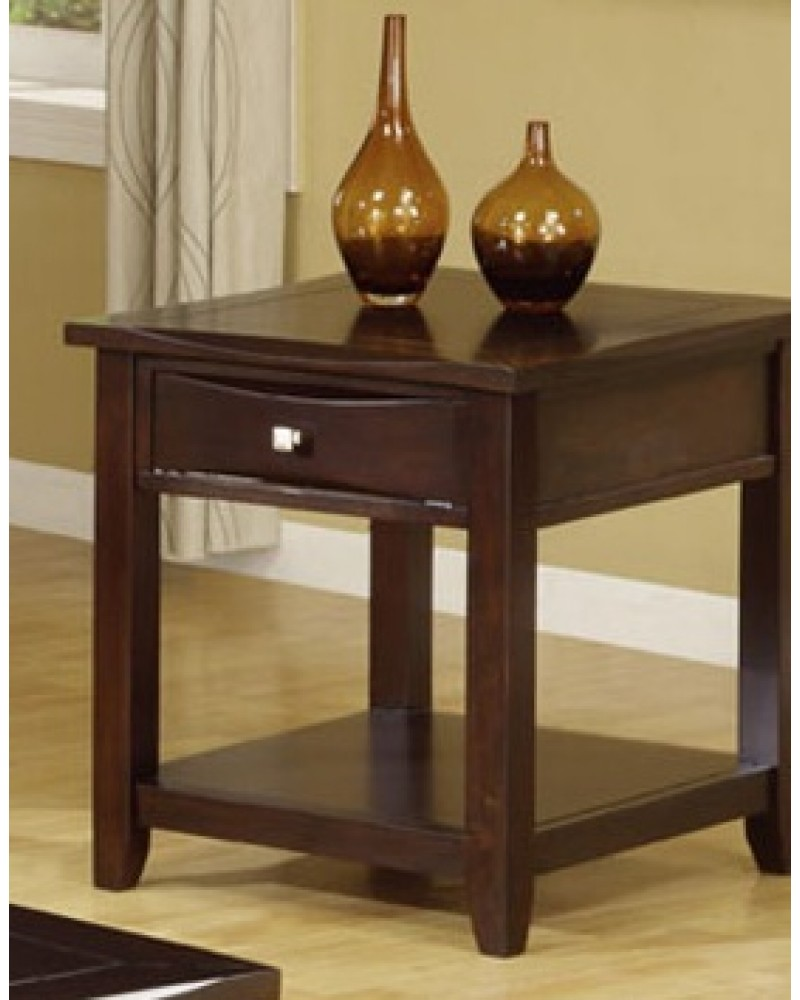 Coffee Table Set with Drawers, Espresso End Table