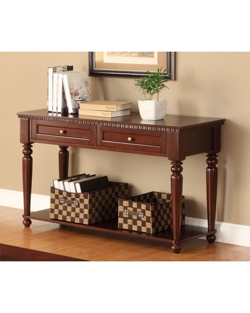 Coffee Table Set, Cherry Veneer Console Table