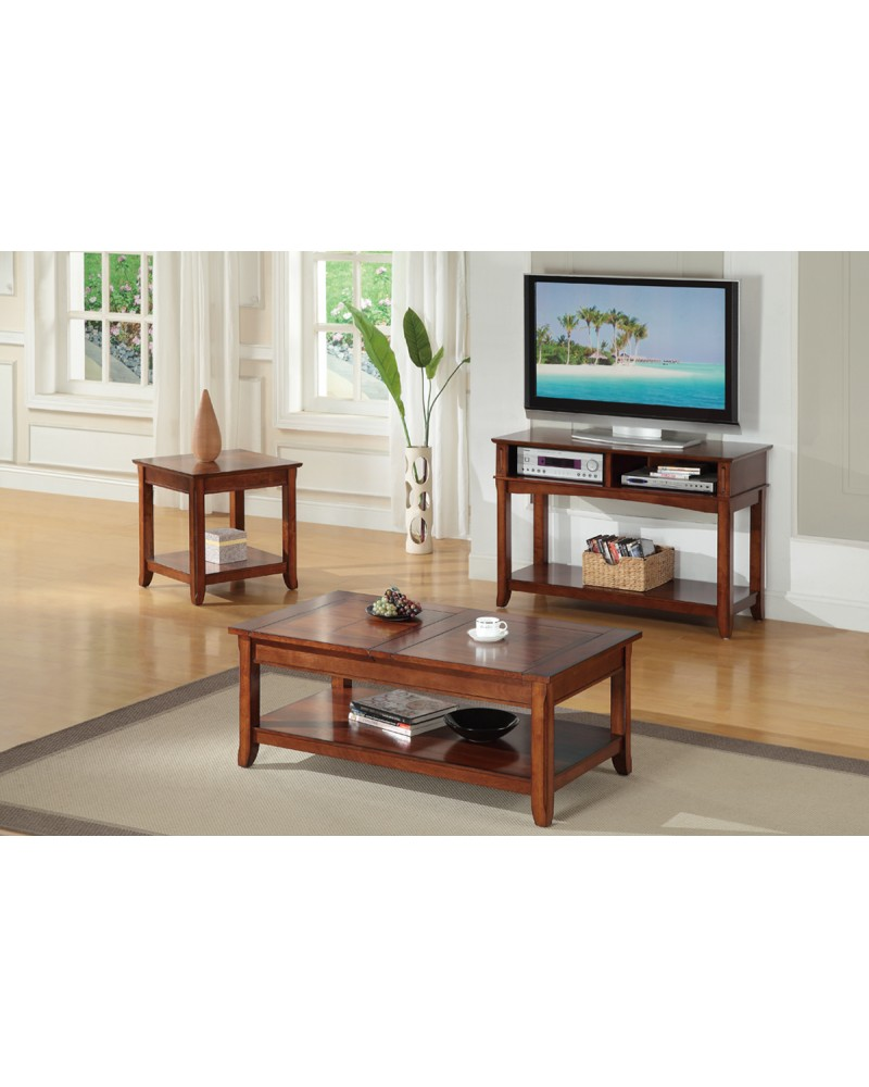 Coffee Table with Hidden Storage and Matching End Table and Console Coffee Table
