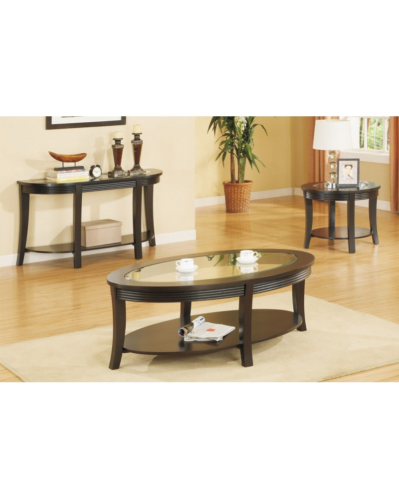 Oval Coffee Table Set, Matching Console and End Tables Coffee Table