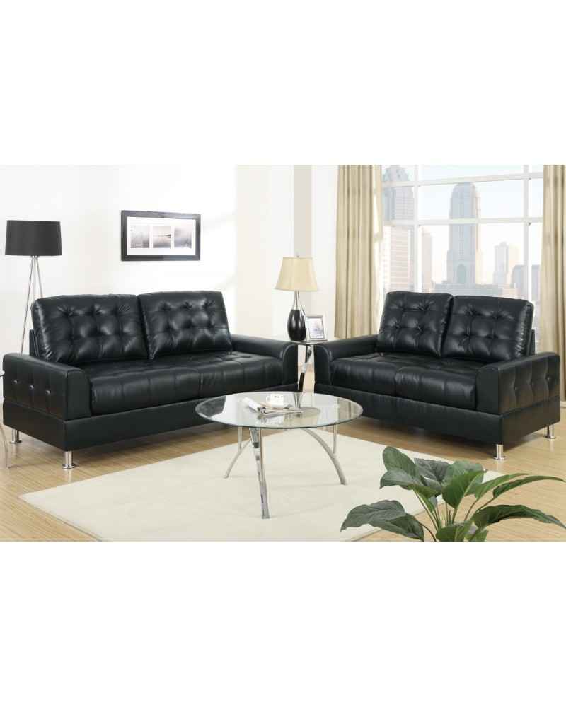 Black Bonded Leather Sofa and Loveseat