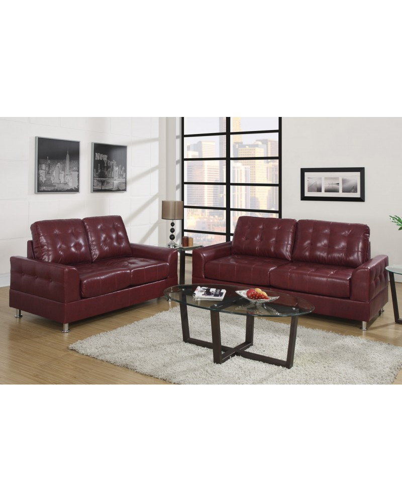 Burgundy Bonded Leather Sofa and Loveseat