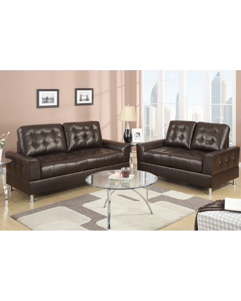 Espresso Bonded Leather Sofa and Loveseat